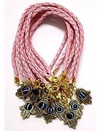10 X Hamsa Shamballa Friendship Bracelet Evil Eye Charm Kabbalah Hand Of Fatima Pink Gold Pendant