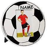 alles-meine.de GmbH Fotorahmen / Bilderrahmen -  Fußball / Ball  - inkl. Name - 10 x 15 cm - Holz - zum Aufhängen & Hinstellen & Aufstellen - Wandbilderrahmen & Tischausteller ..
