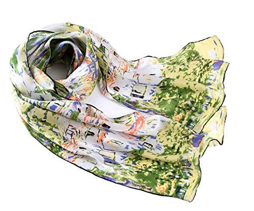 prettystern Damen langer Seiden-Schal Jugendstil Art Malerei grün Kunst-Drucke Gustav Klimt - Unterach am Attersee P648