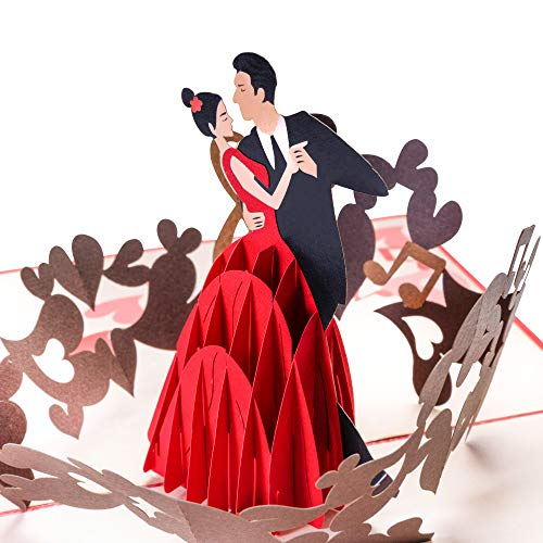 PrimePopUp® Valentinstag Karte für Sie & Ihn, 3D Pop Up, Tänzerin und Tänzer, besondere, romantische Valentinskarte mit Herz, Geschenk für Freundin Freund, Hochzeitskarte, Ich liebe Dich