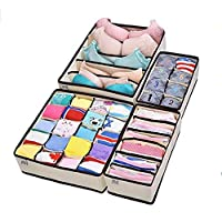 Collapsible Storage Boxes Bra Underwear Closet Organizer Drawer Divider 4 set,