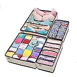 SKEIDO Collapsible Storage Boxes Bra Underwear Closet Organizer Drawer Divider 4 set