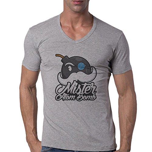 Bomb Atom Boom Fire Mister Herren V-Neck T-Shirt Grau