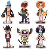 lunanana Anime Einteilige Figuren-Set: Luffy/Zoro/Chopper Mini PVC-Figur/Vinyl-Figur/Action-Figur/Sammlerstück/Anime-Fans Geschenk, 8cm, American Football, 6 Stück
