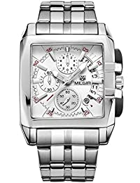 Megir hombres de negocios del Cuadrado Reloj analógico cronógrafo impermeable relojes de cuarzo Auto Fecha