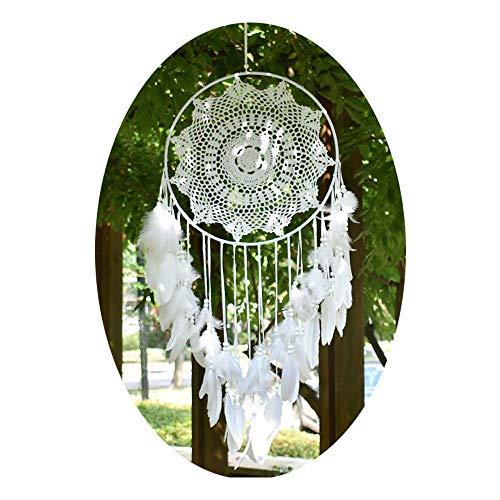 EasyBravo Große Boho Traumfänger Weiße Feder Makramee Wandbehang Vintage Hochzeit Hauptdekorationen 40cm Kreis 115cm Lang (Easy Baby-dusche Dekorationen)