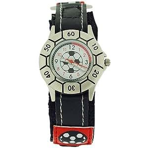 Montre Garçons Reflex - Design Football - Cadran Fond Blanc - Bracelet Noir/Rouge. KID-0051