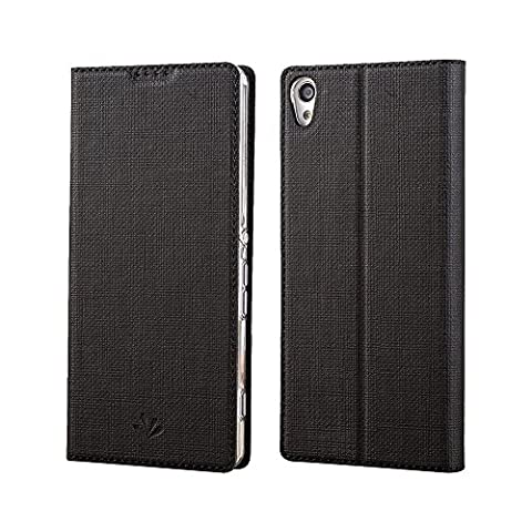 Sony Xperia XA Ultra Hülle,Eactcoo Dünn Premium PU Leder klappbares Folio Flip Case Book TPU Cover Bumper Tasche Mit Standfunktion Magnetverschluss Kartenfach Wallet Handyhülle Für Sony Xperia XA Ultra