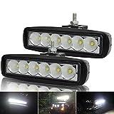 Kashine 18W LED Lampes de Travail Projecteur Phare Brouillard Feux Flood LED pour Offroad Véhicule Tout-terrain ATV SUV Camion Bateau Quad 4x4 Diurne lumière éclairage 6000K (2 pièces)