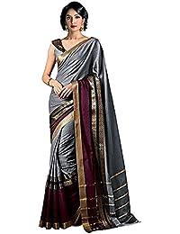 Indira Designer Silk Saree with Blouse Piece (SIVA-CHARMI-SILVER_Silver_Free Size)