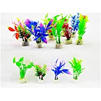 Lote 10 Plantas Artificiales para Pecera Acuario de Peces Multicolor Altura 10cm 4415