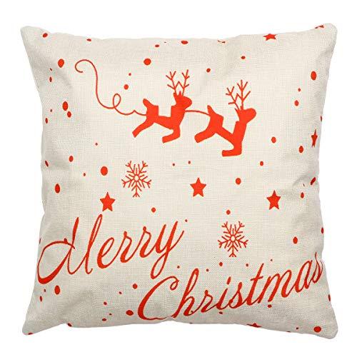 PRETYZOOM Weihnachtsthema Throw Pillow Cover dekorative Leinen Kissenbezug Pillowslip für Heim Sofa Bett Stuhl - Dekorative Throw Pillow Kissenbezug