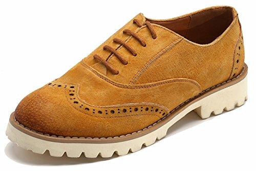 Rindsleder Lace up Comfort Oxford Schuhe, Freizeitschuhe Ultra-Light Wanderschuhe Laufschuhe 35-40 Braun39 (Fünfziger Jahre Schuhe)