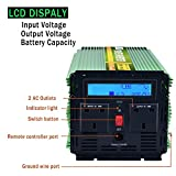 Edecoa 2500W Peak 5000W Power Inverter Pure Sine Wave DC 12V to 240V AC with LCD Display Remote Control - Green
