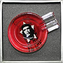 Che Guevara Viva Revolution Glass Ashtray Travel Pocket High-Quality 8cm Collectors Item (Red)