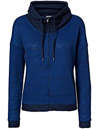 Vero Moda Women's Sweater with Shawl Collar Sweatshirt Jane L/S Highneck Zip Sweat Blue
