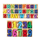 Wooden Letters and Numbers Set with Storage Tray Lettere Maiuscole in Legno, Alfabeto Numeri in legno,Confezione da 216 pezzi