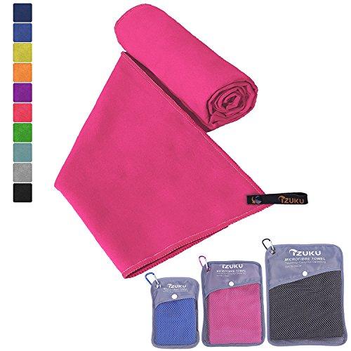 Mikrofaser Handtücher in 7 Größen/ 10 Farben ultraleicht, super saugfähig und schnelltrocknend IZUKU® Handtuch Mikrofaser antibakteriell und schmutzabweisend mit Tragetasche als Geschenk 100x200cm Rot