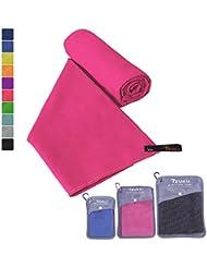 Mikrofaser Handtücher in 7 Größen/ 10 Farben ultraleicht, super saugfähig und schnelltrocknend IZUKU® Handtuch Mikrofaser antibakteriell und schmutzabweisend mit Tragetasche als Geschenk