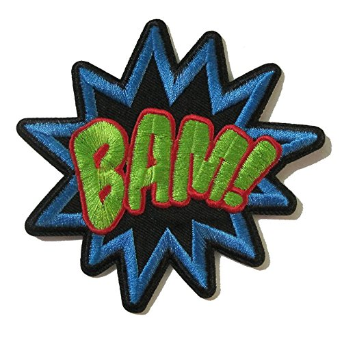 coolpart bamsuperhero Comics Retro Fun bestickte Applikation Bügelbild Bam Wort Stoff Flicken Jacke Aufkleber Kleidung DIY Zubehör perfekt Patches (Adult Aviator Hut)