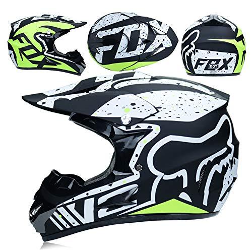 CFYBAO Adulto Motocross Casco Gafas De Regalo Máscara Guantes Moto Racing Casco Completo Cara para Hombre Y Mujer,D,L