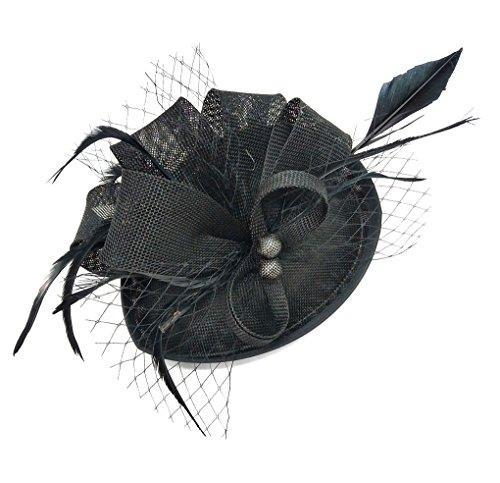 Flywife Fascinators Hut Feder Schleier Pillbox Hut Clip Stirnband Derby Hat Tea Party Cocktail Hochzeit ()