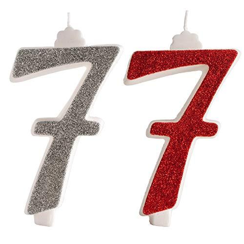 Vela con Purpurina roja para decoración de Pasteles en Forma de número 7. 13 cm