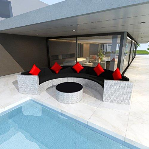 WEILANDEAL Gartensofa-Set Ratan Synthetik, Weiß, 21-Teiliges Set aus Edelstahl, Kissenbezüge Abnehmbar und Waschbar