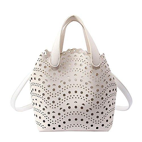 DCRYWRX Vintage Mädchen Hohlen Eimer Tasche Handtaschen Beiläufige Geldbeutel Umhängetasche Schultertasche Für Teen Girls Handtaschen,White - Chloe Hobo