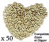 JEFFRIZ Lot 50 X Pierres à Briquet Haute qualité Silex Compatible avec Clipper et Zippos