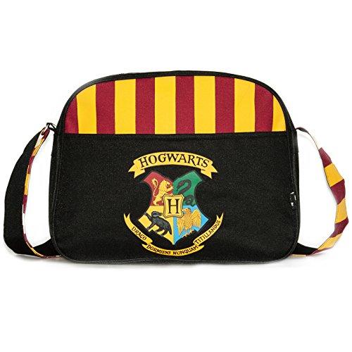 Crest Messenger (Offizielle Harry Potter Hogwarts Crest Schwarz Striped School Courier Messenger Bag)
