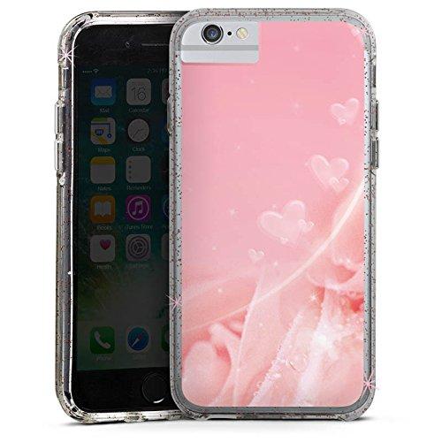 Apple iPhone 6s Plus Bumper Hülle Bumper Case Glitzer Hülle Rose Blumen Flowers Bumper Case Glitzer rose gold
