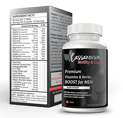 Cassanovum - High Strength Advanced Male Fertility Supplement - 30  Vegetarian Vitamins for Conception Preparation - Boost Motility and Improve  Count -