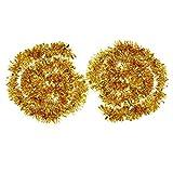 2 Piezas de Guirnalda de Oropel Metálico Oropeles Brillantes Decoración de Árbol de Navidad Guirnalda Brillante, 4 Metros Total (Dorado)