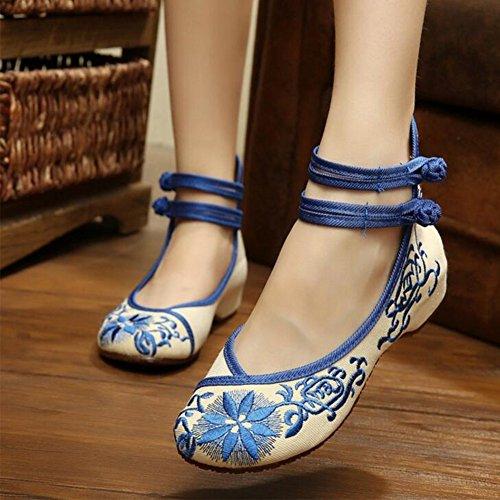 Bianqizheng Couleur Tournesol Broderie Chaussures Mariage Femmes Mary Jane Femme Au Foyer Baler Ballerine Mocassins Bleu