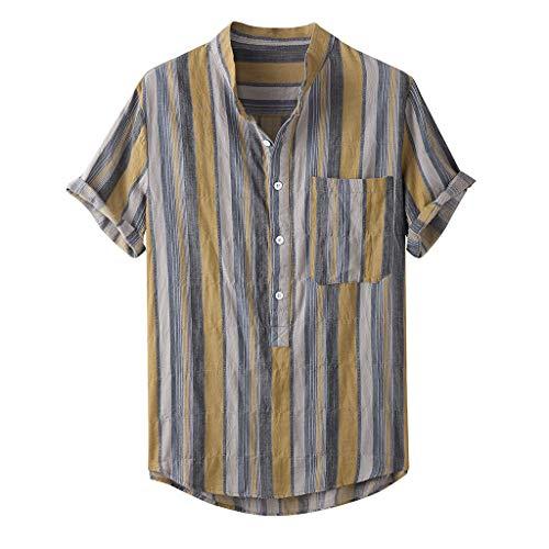 ✮R-Cors✮ Herren-Hemden ,Kurzarm Henley Shirt, Männer Bedruckt Freizeithemd , Loose Fit Sommer Hemden, Leichte Atmungsaktives Bequem Leinen Hemden -