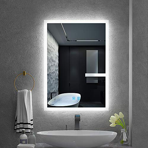 Quavikey LED espejo de baño 50 x 70 cm espejo de luz de baño espejo de vanidad...