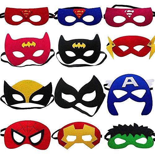 Superhelden-Masken, Superhelden-Partyzubehör, Superhelden, Cosplay-Masken, für Kinder oder Jungen ab 3 Jahren, 12 ()