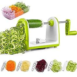 Spiralizzatore, Affettaverdure a 5 Lame e Scatola di Insalata DEIK Affetta-verdure Facile da Utilizzare per Trasformare…
