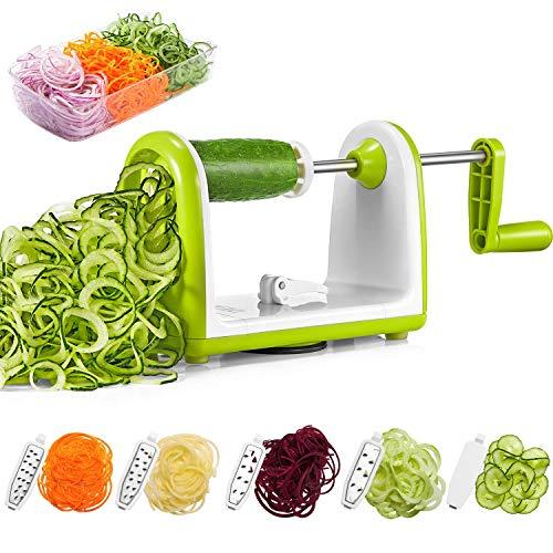 Deik espiralizador vegetal de 5 Cuchillas Fácilmente Intercambiables, Antideslizante, Fácil de Usar para Cortar Frutas y Verduras ,Espaguetis, Cintas y Fideos