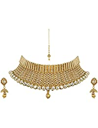 Pink Rose - Complement Collection Gold Kundan Copper Necklace Set With Maang Tika For Women
