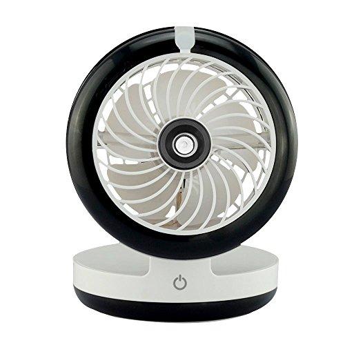 Ventilatore nebulizzatore umidificatore portatile ricaricabile su batteria refrigerante a getto d' acqua Ventilo potente e silenzioso nero