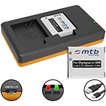 2 Baterías + Cargador doble (USB) para Li-50b / Olympus SH-..SP-..SZ-..TG-..VG-..VR-..XZ-..mju-..µ-.. / Pentax / Ricoh WG-... - ver lista! (contiene cable micro USB)