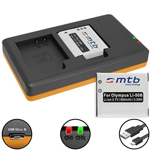 2 Akkus + Dual-Ladegerät (USB) für Li-50b / Olympus SH-..SP-..SZ-..TG-..VG-..VR-..XZ-..mju-..µ-.. / Pentax / Ricoh WG-... - s. Liste! (inkl. Micro-USB-Kabel)