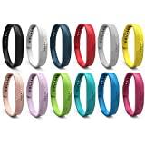 """Benestellar 12 Colors Fitbit Flex 2 Band, Bracelet Strap Replacement Band For Fitbit Flex 2, 7.8"""" L, Small, Pack Of 12"""
