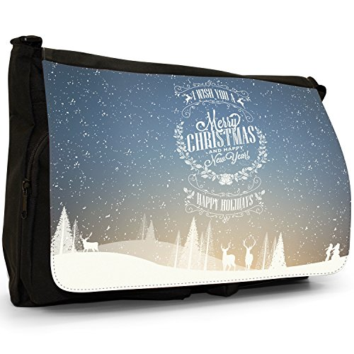 Neve Tipografia auguri di Natale Grande borsa a tracolla Messenger Tela Nera, scuola/Borsa Per Laptop I Wish You A Merry Christmas