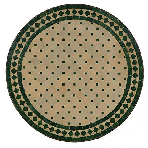 Mediterraner Gartentisch marokkanischer Mosaiktisch Ø 120 cm rund grün terrakotta mit Gestell H 75 cm  Kunsthandwerk aus Marrakesch | Dekorativer Balkontisch Bistrotisch Beistelltisch  MT2116