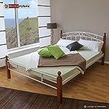 Homestyle4u Metallbett Bett Doppelbett 180 x 200 + Lattenrost Bettgestell 916 weiß