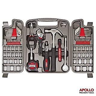Hi-Spec 79 Piece Automotive & Household Tool Kit with Most Common SAE and Metric Sockets, Ratchet Drive Handle, Claw Hammer, Adjustable Wrench, Needle-Nose Pliers, Bit Driver & Bit Set in Storage Case