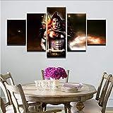 Wiwhy Moderne Wandkunst Leinwand Hd Gedruckt Gemälde Rahmen 5 Stücke Indien Gott Shiva Bilder ModularePoster Wohnkultur Heißer8C,30X40/60/80Cm